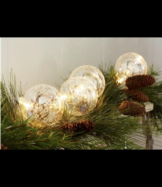 "3.5"" Ball Ornaments w/LED Light String 4.5'L Glass"