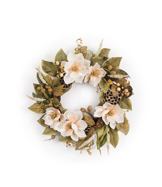 "Magnolia/Berry Wreath 27""D Polyester"