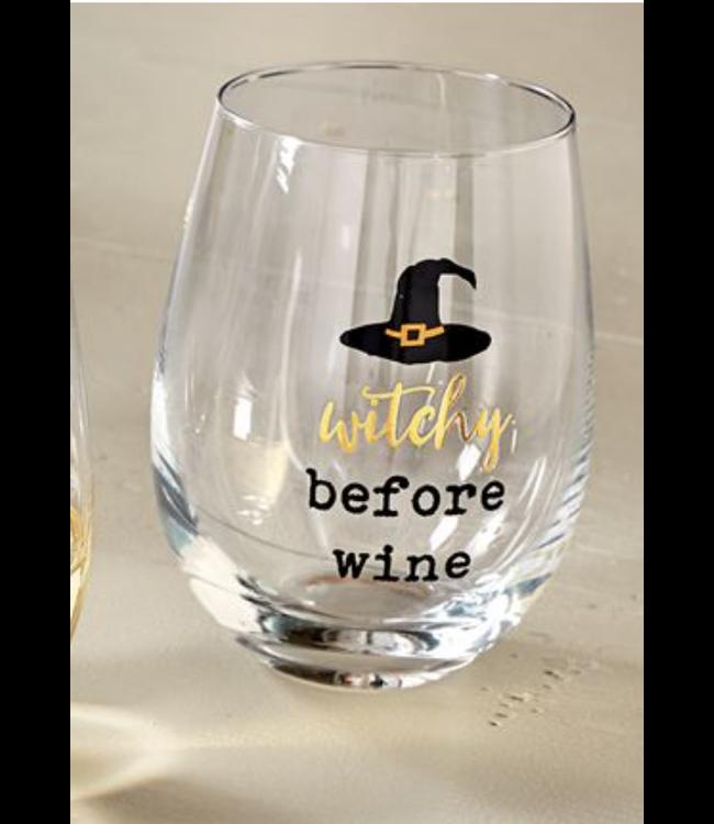 Mud Pie WITCHY STEMLESS WINE GLASS