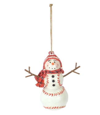 "Baseball Snowman Ornament 4.25""H Resin"