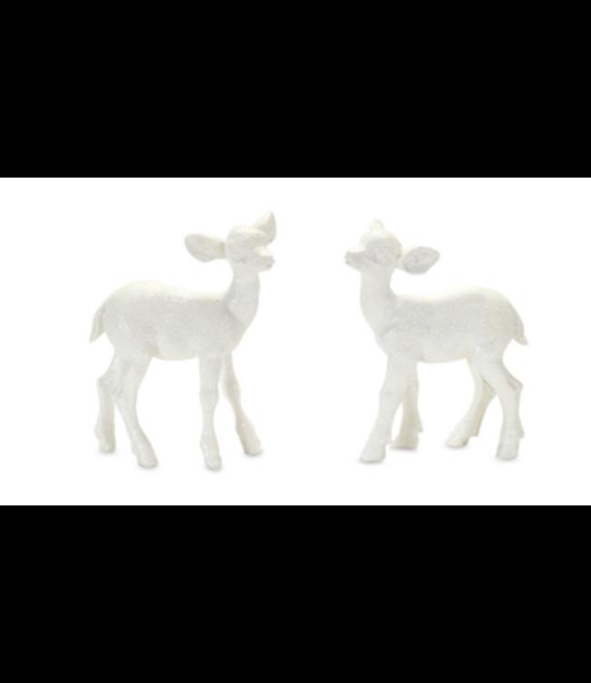 White Glitter Deer 4in