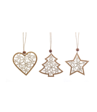 Wood Snowflakes in Heart/Tree/Star