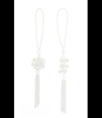 White Beaded Drop Ornament