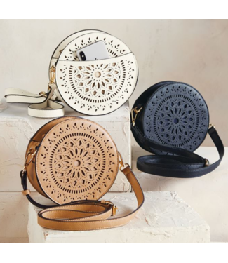 Mud Pie Laser Cut Round Crossbody