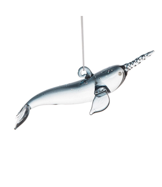 Narwhal Blown Glass Ornament