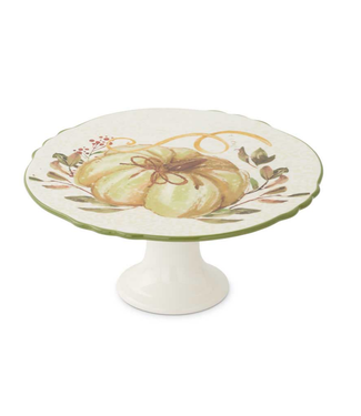 Ceramic Scalloped Rim Cake Stand with Pumpkin