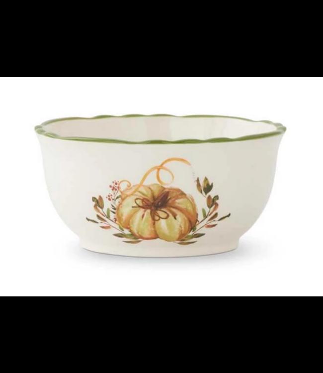 Ceramic Scalloped Rim Bowl with Pumpkin 5.75