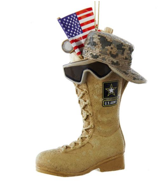 """4.75""""ARMY BOOT W/USA FLAG+ICONS ORN"""