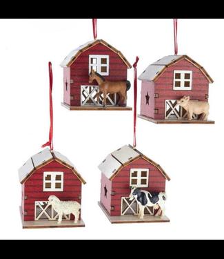"2.38"" Laser cut barn with animal orn"