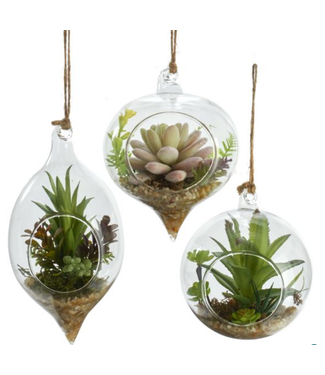 Glass With Faux Succulent Ornaments