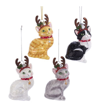Noble Gems™ Cat With Antlers Glass Ornaments
