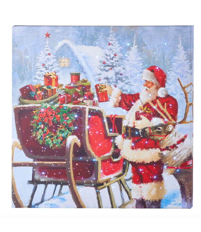 """20 """" SANTA WITH PRESENTS LIGHTED PRINT"""