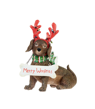 """8 """" DACHSHUND WITH ANTLERS"""