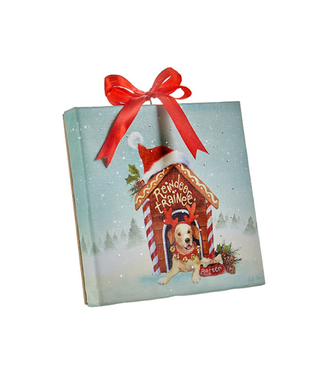 """6 """" DOG HOUSE LIGHTED PRINT ORNAMENT WITH EASEL BACK"""