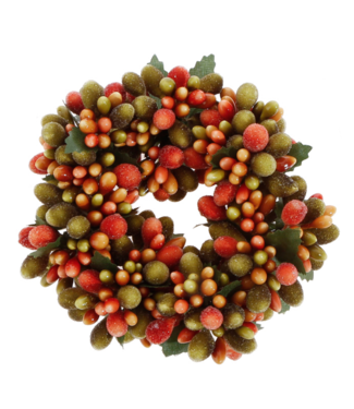 """4"""" Beaded Berry Candle Ring Orange Green"""