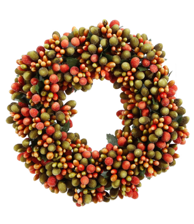 """6.5"""" Beaded Berry Candle Ring, Green/Orange"""