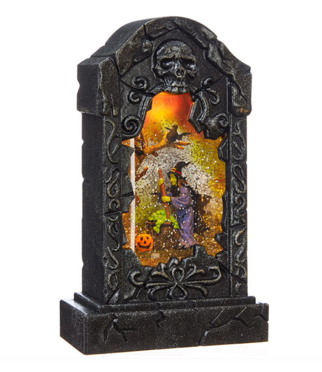 "10.75 "" WITCH LIGHTED WATER TOMBSTONE"
