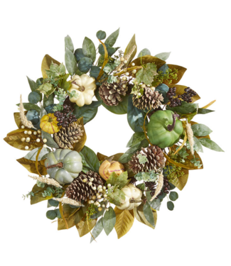 """28 """" MIXED WREATH WITH PUMPKINS"""
