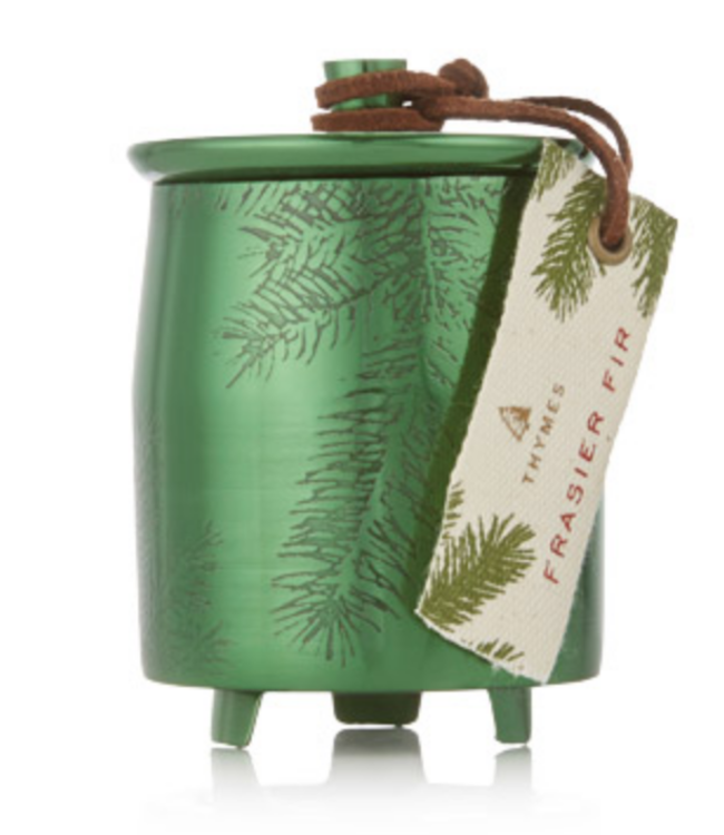 Small Frasier Fir Green Metal Candle with Lid