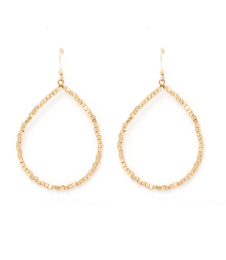 Teardrop Hoop Earring with Gold Beads