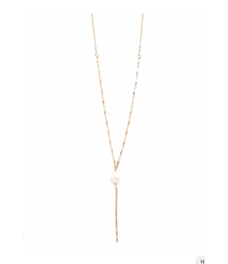 Long Accented Chain with Charm, Natural Pearl Silver
