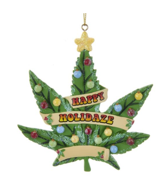 """Happy Holidaze"" Cannabis Leaf Ornament For Personalization"