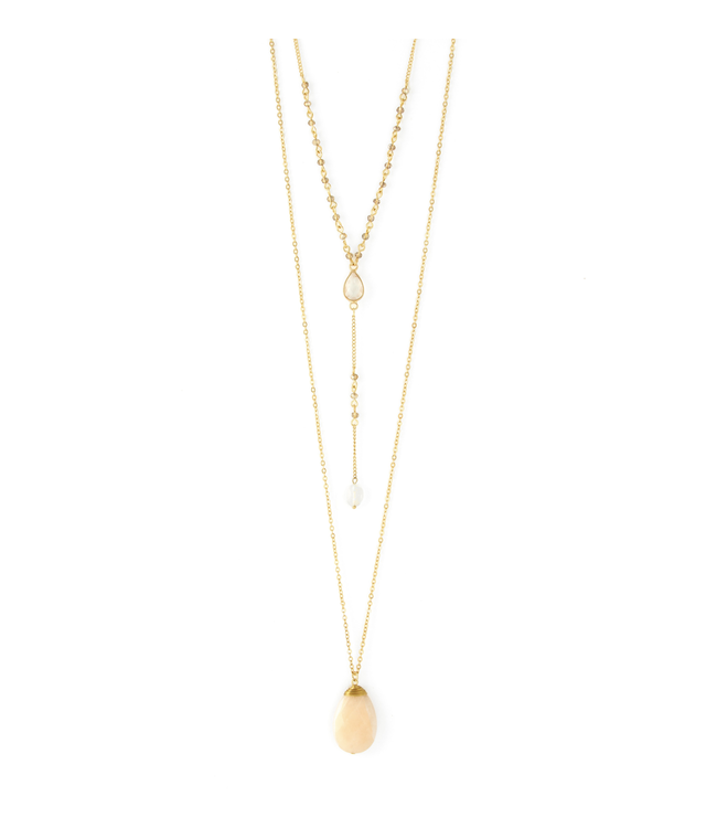 Layered Necklace with Peach Teardrop Stone, Gold
