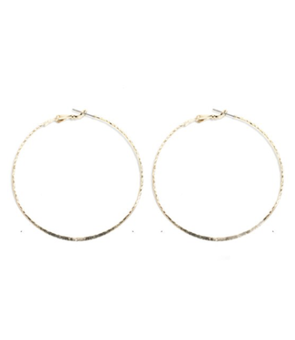 Large Textured Delicate Hoop, Gold