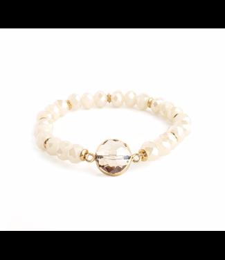 Ivory Bracelet with Gold Framed Smokey Crystal