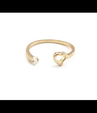 Adjustable Heart Ring, Gold