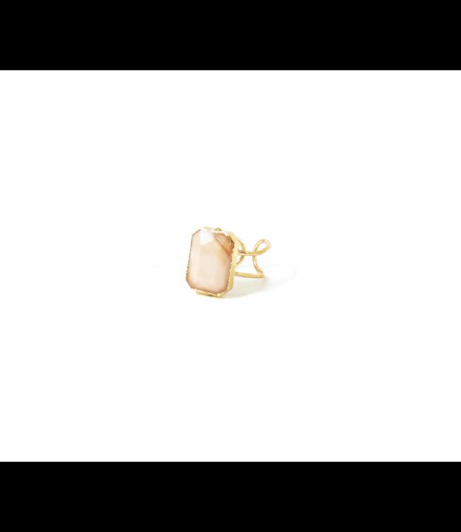 Peach Stone Adjustable Ring, Gold
