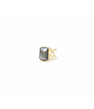 Grey Stone Adjustable Ring, Gold