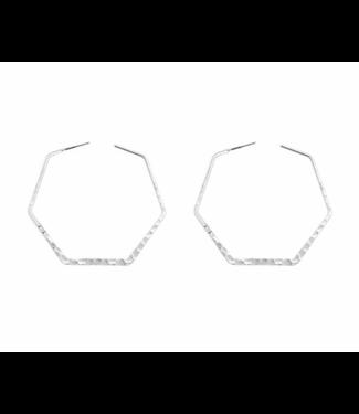 Hammered Hexagon Hoop, Silver