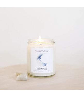 Moonstone Crystal Candle - Brings Good Luck