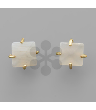 Square Stone with Metal Prong Post Earring Grey/Gold