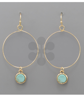 Stone Dangle Circle Earrings Turquoise/Gold