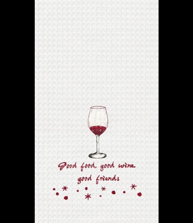 Good Food, Wine, Friends Waffleweave Dishtowel