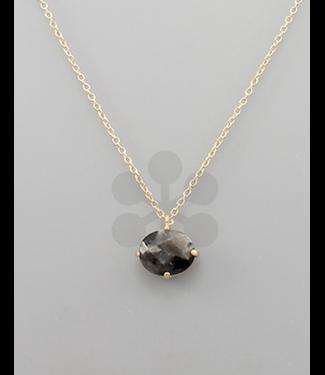 Stone Oval Necklace Black/Gold