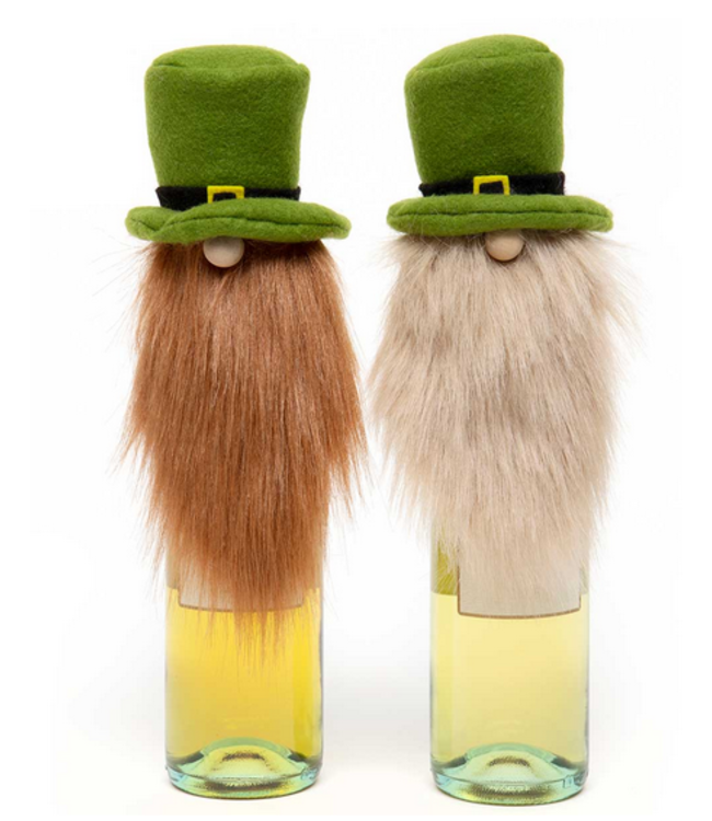 """ST PATTY GNOME BEER BOTTLE TOPPER 2 Assorted RE/BE 4""""X11"""""""