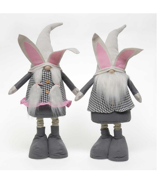 """BUNNY GNOME with METAL TELESCOPING LEGS/expandable legs 2 Assorted BOY/GIRL 6.5""""x27.5""""-38.5"""""""