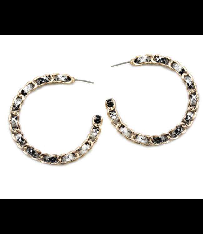 Woven Snake Skin Gold Earring