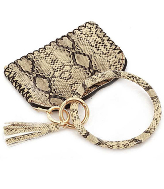 Wrist Key Chain and Coin Purse Beige Snake Skin