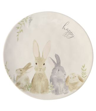 Mud Pie Watercolor Round Bunny Platter