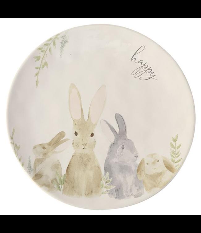 Mud Pie Watercolor Round Bunny Platter