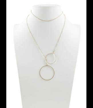 2 Gold circle lariat circles with silver shade beads