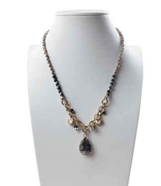 Gold chain, taupe and grey beads with gemstone teardrop Necklace