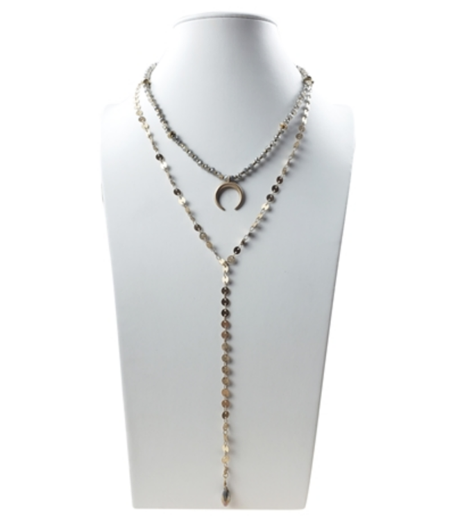 2 Row flat gold link chain & taupe beads with crescent Necklace