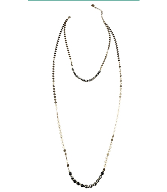 2 Row disc shape chains with grey crystals Necklace