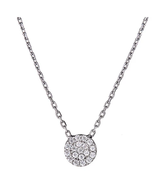 Silver CZ Pendant Tiny Pave Disc with Chain - White