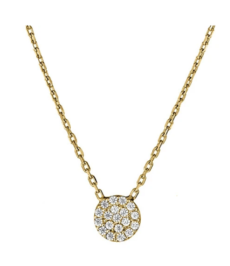 Silver CZ Pendant Tiny Pave Disc with Chain - Yellow